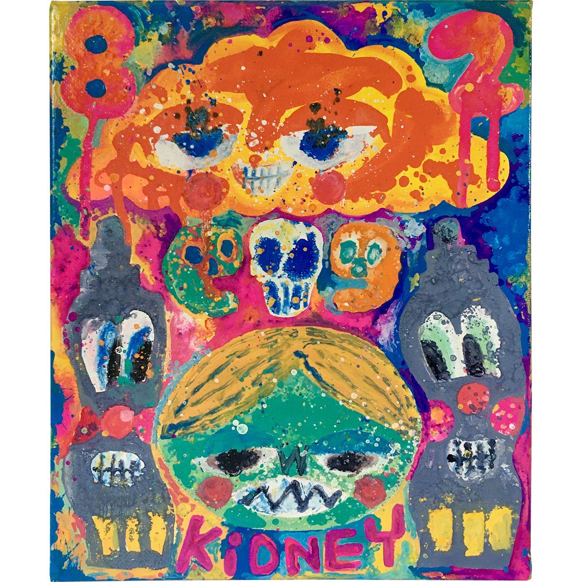 Rob Kidney #2『SHOCK BEAR』――80年代の東京でハイエナジー音楽を聴きながらエネルギーを感じてビリビリしているテディベアを描きました。