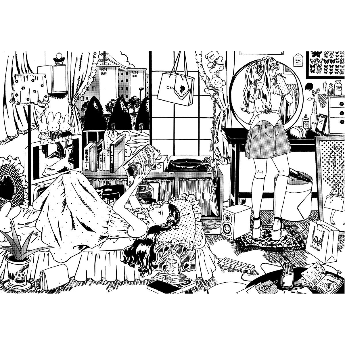 須藤はる奈『どこへも帰らない』――東京のニュータウンが好きです。好きなものでいっぱいの部屋や、その少し遠い延長線上にある街。ありあまる程多くの選択肢をたいらげて、どちらでも籠城して遊んでいるような気持ちで描きました。